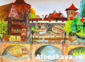 Hand drawn painting, watercolour, town Nuremberg in Germany. Size of original 46,5 x 30 sm.