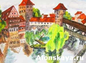Hand drawn picture, watercolour painting, town Nuremberg in Germany. Size of original 41,5 x 30 sm.