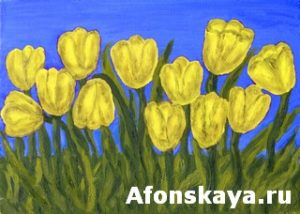 Yellow tulips, painting