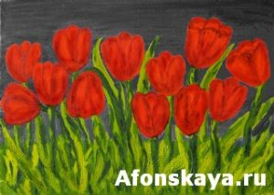 Red tulips, painting