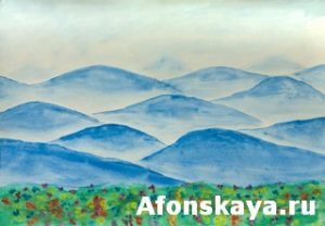 Hand painted picture, watercolours, landscape with blue hills and flowers. Size of original 42 x 30 sm.