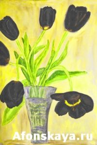 Hand painted picture, tulips in vase