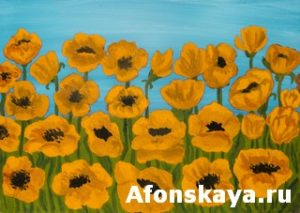 Orange poppies, painting