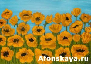 Orange poppies, painting