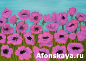 Pink poppies, painting