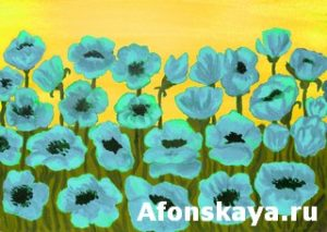 Blue poppies, painting