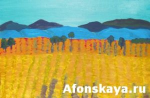 Yellow field, painting
