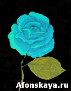 Blue rose, oil painting