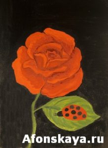 Red rose, oil painting