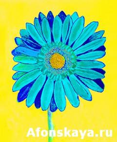 Blue gerbera on yellow, watercolor