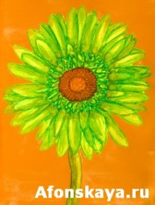 Green gerbera, painting