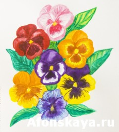 Pansies, watercolour painting