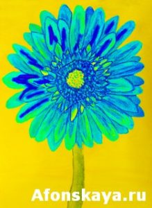 Blue gerbera, painting