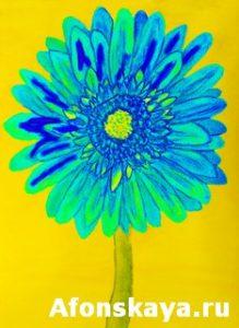 Blue gerbera, painting