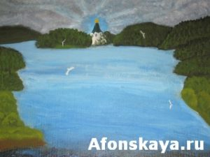 Hand painted picture, oil painting on cardboard, island Valaam on Ladoga lake, Russia. Size of original 35 x 25 sm.