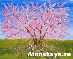 Cercis tree, oil painting