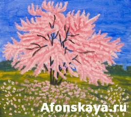 Cercis tree, painting