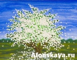Painting, acrylic, spring landscape with apple tree