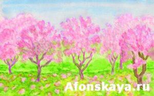 Pink spring garden, watercolours