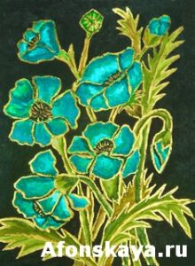 Blue poppies on black background, painting