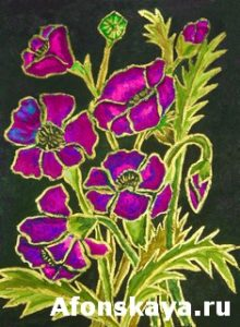 Pink poppies on black background, painting