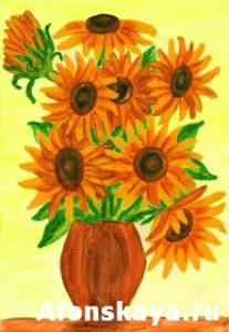 Orange sunflowers, painting