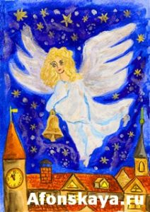 Angel with Christmas bell, painting