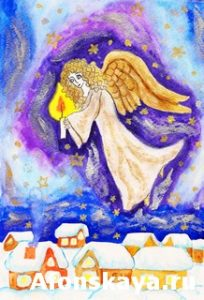 Angel with candle, painted Christmas picture