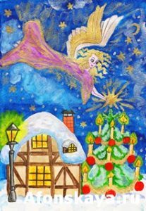 Angel with star, hand painted Christmas picture