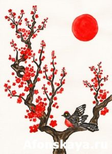 Bird on branch with red flowers, painting