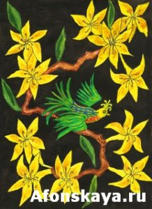 Bird on branch with yellow flowers, painting