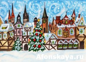 Christmas in old European town