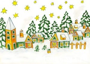Christmas picture in green and yellow colours