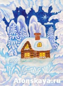 House in snow frame, painting