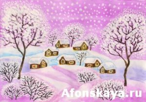 Winter landscape in purple colours, painting