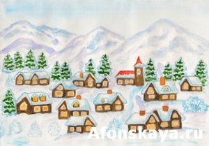 Village in hills in winter, painting
