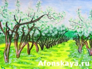 Apple garden in blossom, painting