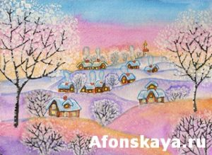 Winter landscape, painting