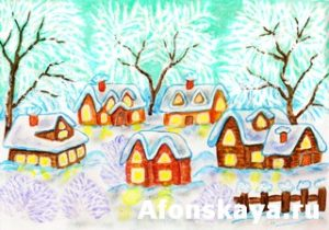 Winter village, painting