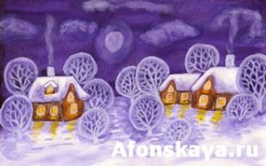 Winter landscape in violet colours, painting