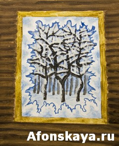 Winter forest in window, painting