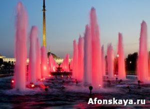 Moscow, fountains on Poklonnaya hill