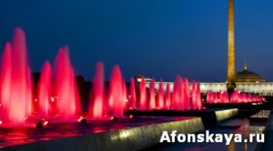 Moscow, illuminated fountains