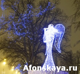 Electric angel, Christmas in St. Petersburg