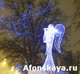 Electric angel, Christmas in St. Petersburg
