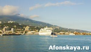 Big liner in port, Yalta