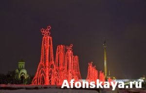 "Moscow, electric fountains on ""Poklonnaya hill"""